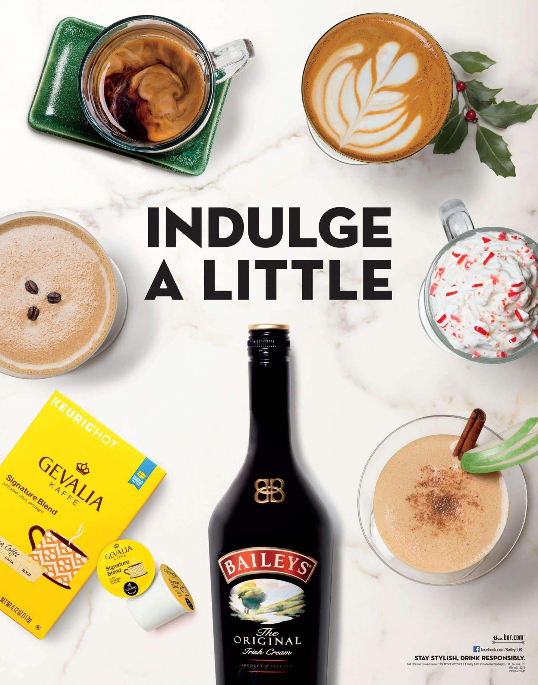 Advertising drinks photography of Baileys Irish Cream Holiday Advertisement.