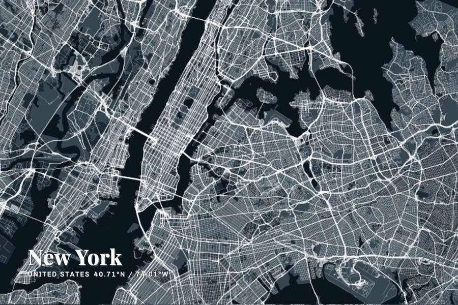 New York Map Graphic
